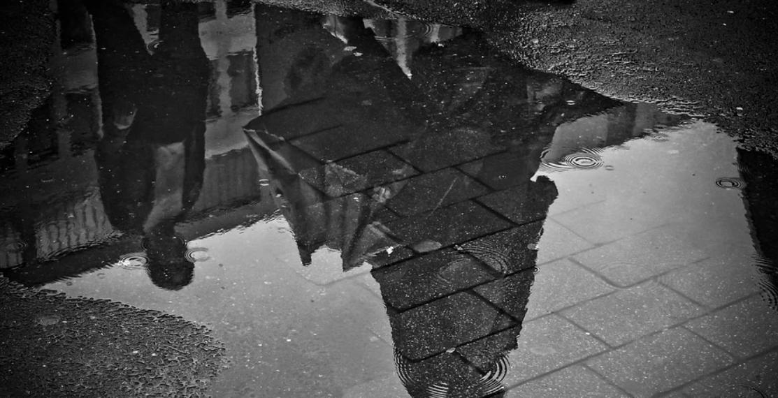 dlažba v dešti